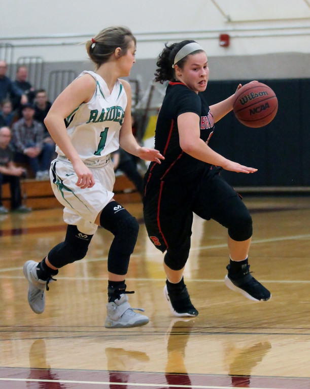 . Randy Meyers - The Morning Journal Brookside\'s Hannah Torres drives by    Torrie Shields of Columbia near midcourt during the 2017 Lorain County    Girls All Star game on Sunday