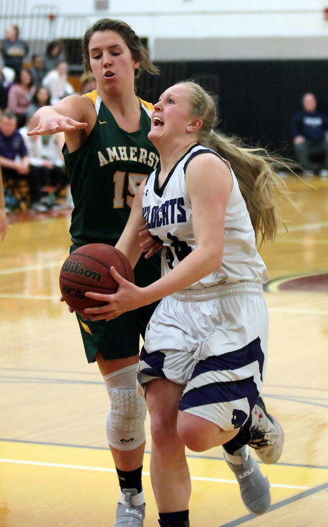 . Randy Meyers - The Morning Journal McKenah Peters of Keystone drives  by Sydney Roule for a shot during the 2017 Lorain County Girls All Star  game on Sunday. The girls shared the Miss Basketball award.
