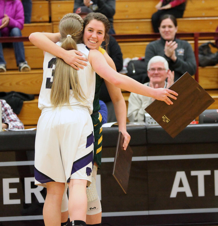 . Randy Meyers - The Morning Journal Sydney Roule of Amherst hugs    McKenah Peters of Keystone after they both received the Miss Basketball    2017 award at the Lorain County Girls All Star game on Sunday Mar 19.