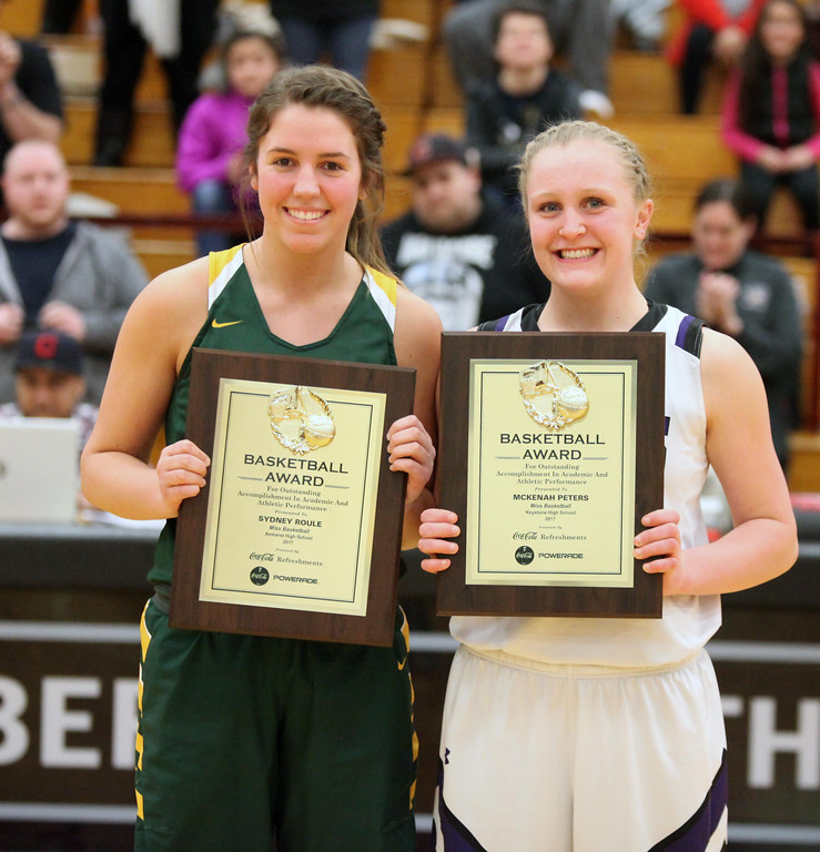 . Randy Meyers - The Morning Journal Amherst\'s Sydney Roule and    Keystone\'s McKenah Peters share the 2017 Miss Basketball award during the    Lorain County Girls All Star game on Sunday