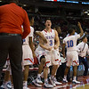 VASJ's bench celebrates after taking the lead in the 4th quarter of the Vikings' 54-52 victory over Roger Bacon in the Division III State Final on March 25 at the Schottenstein Center in Columbus.