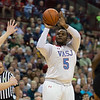 VASJ's William Butler shoots a three-pointer over a Spartan defender during the Vikings' 54-52 victory over Roger Bacon in the Division III State Final on March 25 at the Schottenstein Center in Columbus.