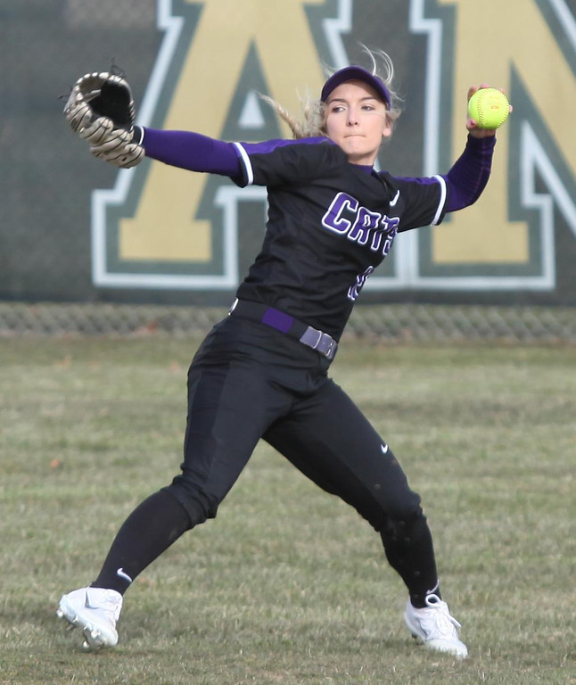 . Randy Meyers - The Morning Journal Keystone centerfielder  Marlie  McNulty makes a throw to the infield against Amherst on Monday