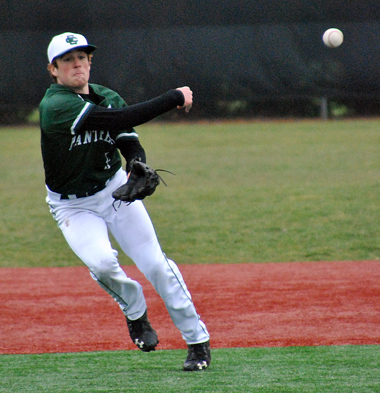 . Jon Behm - The Morning Journal Elyria Catholic\'s Tony LoParo throws to first during the top of the second inning against Vermilion on March 28 at Oberlin College.