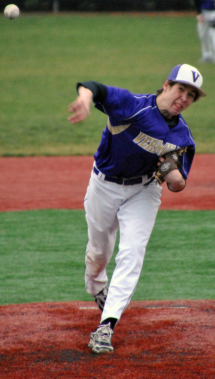 . Jon Behm - The Morning Journal Vermilion\'s Mason Montgomery delivers a pitch during the bottom of the fourth inning against Elyria Catholic on March 28 at Oberlin College.