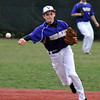 Jon Behm - The Morning Journal<br /> Vermilion's Ridge Clark throws to first during the bottom of the third inning against Elyria Catholic on March 28 at Oberlin College.