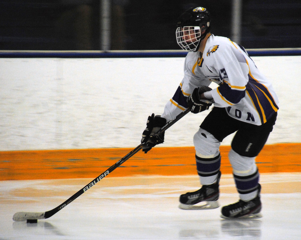 . Jon Behm - The Morning Journal<br> Avon senior Jacob Folds looks to take a shot in the third period against Lakewood during a Southwestern Conference Tournament first round game on Jan. 13.