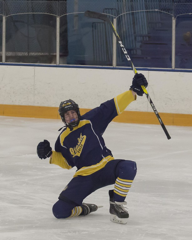 . Jen Forbus - The Morning Journal<br> Olmsted Falls\' Zach Henley celebrates a goal.