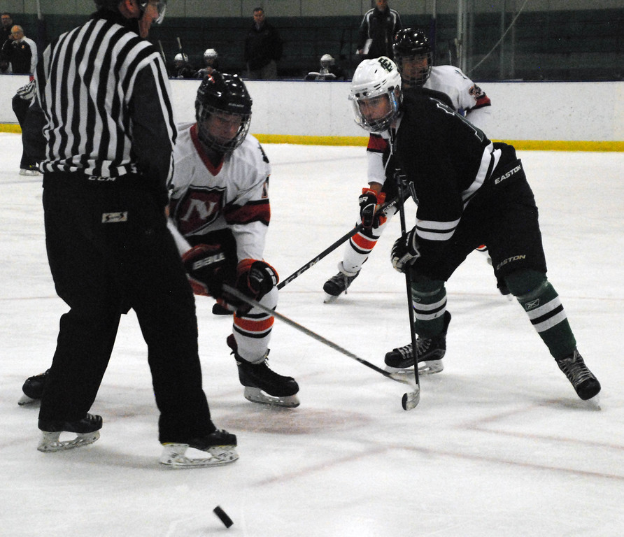 . Jon Behm - The Morning Journal<br> Elyria Catholic senior Drew Beck and Normandy\'s Devin Bitzam take a faceoff during the first period of a Brooklyn District sectional semifinal on Feb. 18 at Brooklyn\'s John M. Coyne Recreation Center.