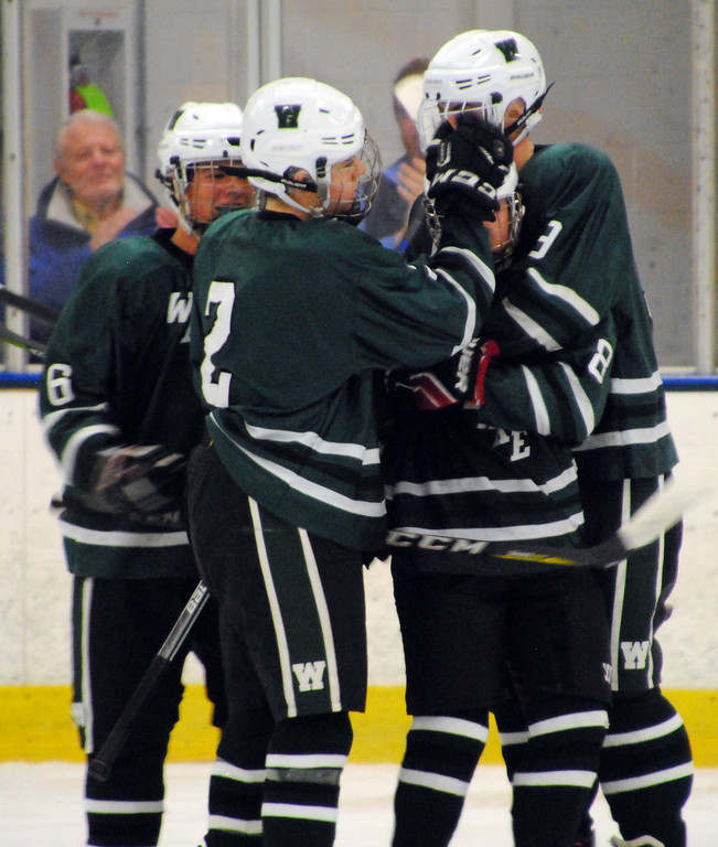 . Jon Behm - The Morning Journal<br> Westlake junior Austin Loosli (8) celebrates with his team following his power play goal against Avon Lake in the second period of a Southwestern Conference Tournament first round game on Jan. 13.
