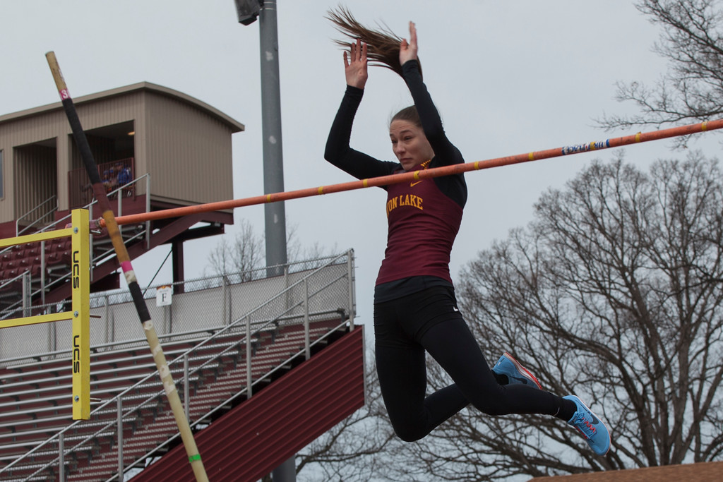 . Jen Forbus - The Morning Journal<br> Avon Lake\'s Anna Robinson had no trouble clearing 10 feet, 9 1/2 inches in the girls pole vault to set a new Avon Lake Invitational record on March 31.