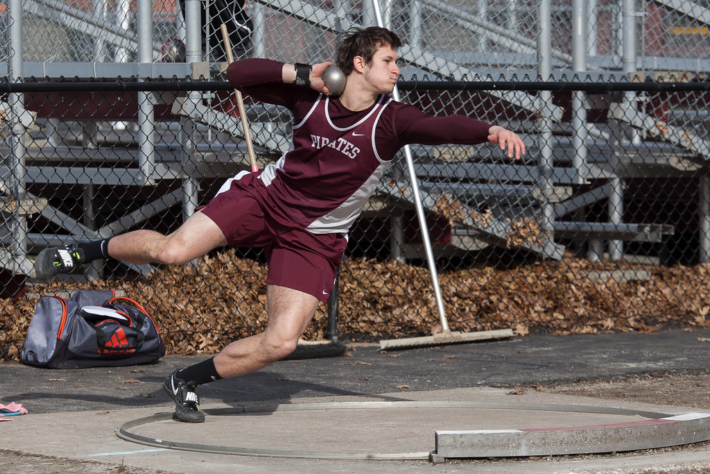 . Jen Forbus - The Morning Journal<br> Rocky River\'s Michael Shoaf threw the shot put 60 feet, 11 1/2 inches to win the shot put at the Avon Lake Invitational on March 31.