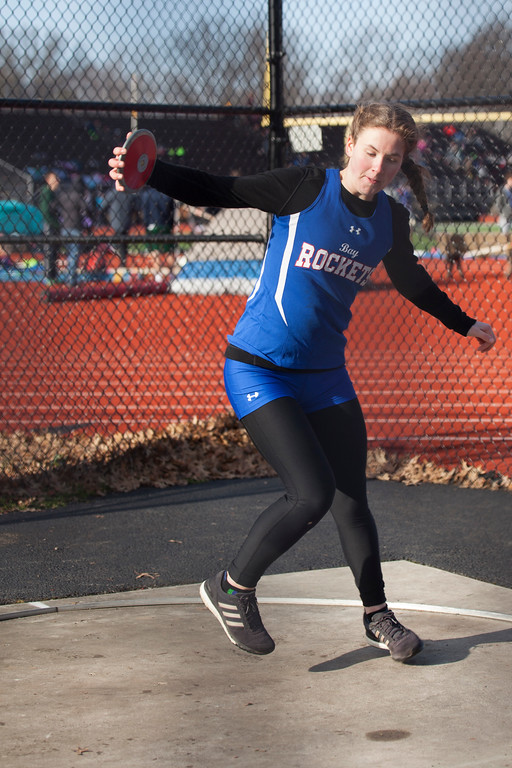 . Jen Forbus - The Morning Journal<br> Sara Hardebeck of Bay winds up to throw the discus at the Avon Lake Invitational on March 31.