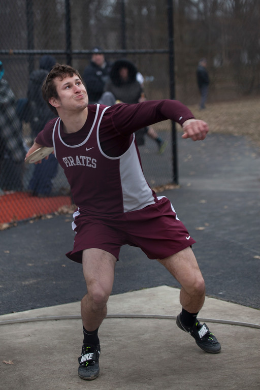 . Jen Forbus - The Morning Journal<br> Rocky River\'s Michael Shoaf throws the discus at the Avon Lake Invitational on March 31.