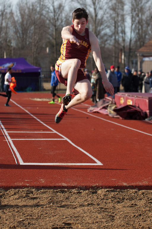 . Jen Forbus - The Morning Journal<br> David Gessner of Avon Lake takes a leap in the long jump at the Avon Lake Invitational on March 31.