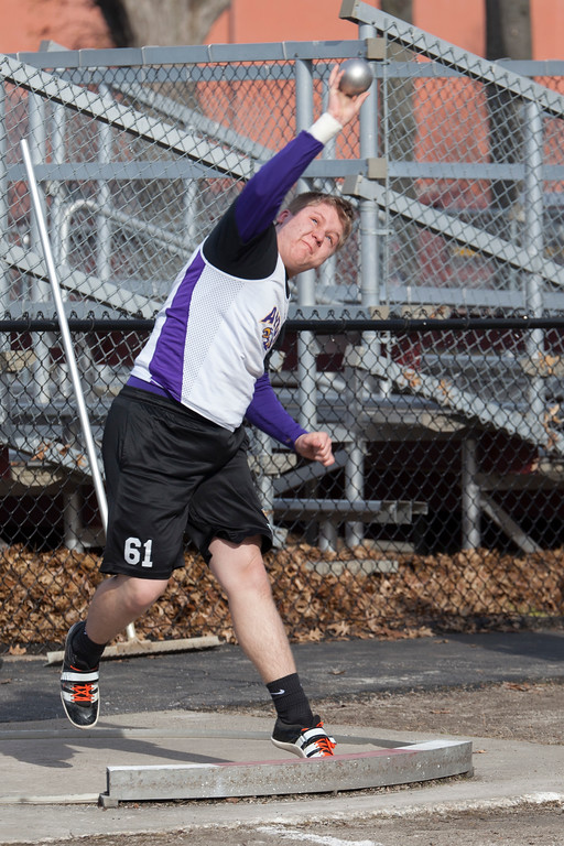 . Jen Forbus - The Morning Journal<br> Avon\'s Greg Sedlak throws the shot put at the Avon Lake Invitational on March 31.