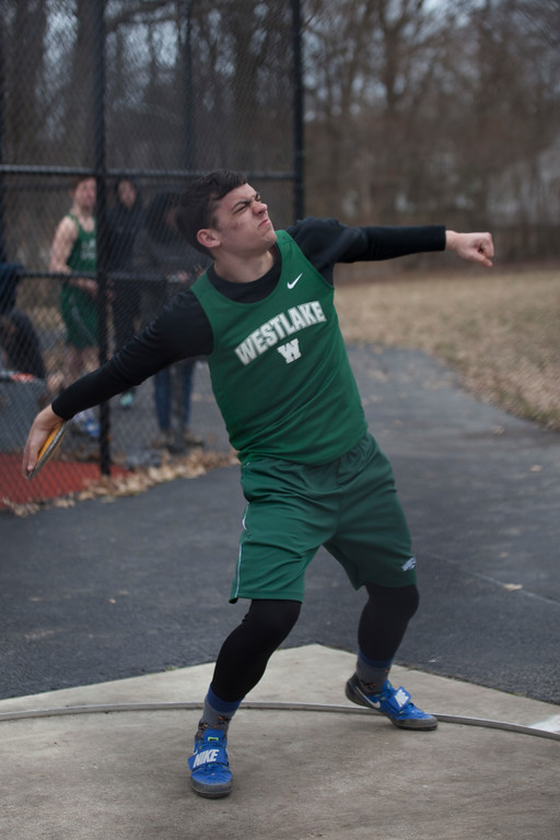. Jen Forbus - The Morning Journal<br> Matt Beaver of Westlake puts his full force into the discus during the Avon Lake Invitational Invitational on March 31.