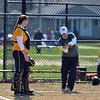 Paul DiCicco - The News-Herald<br /> Wickliffe's Head Coach, Marlana Mucciarone, hitting infield practice prior to the matchup against Chagrin Falls while her catcher, Brenna Hillyard looks on.