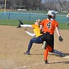 Paul DiCicco - The News-Herald<br /> Wickliffe Freshman, Hannah Levon, stretching for an out in the middle innings.