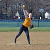 Paul DiCicco - The News-Herald<br /> Wickliffe's Caitlyn Henderson fielding a grounder and throwing to first base for the out against Chagrin Falls on Apr 12.