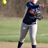 Jon Behm - The Morning Journal<br /> Oberlin's Rhiannon McKee throws to first during the top of the sixth inning against Firelands on April 14.