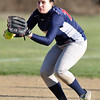 Jon Behm - The Morning Journal<br /> Oberlin's Rhiannon McKee prepares to fire to first during the top of the sixth inning against Firelands on April 14.