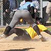 Michael Johnson - The News-Herald<br /> Riverside's Allie Goldy (bottom) beats Mo Hodge's tag (top) at home plate to score a run.   Riverside defeated South 7-1 at Willoughby South High School.