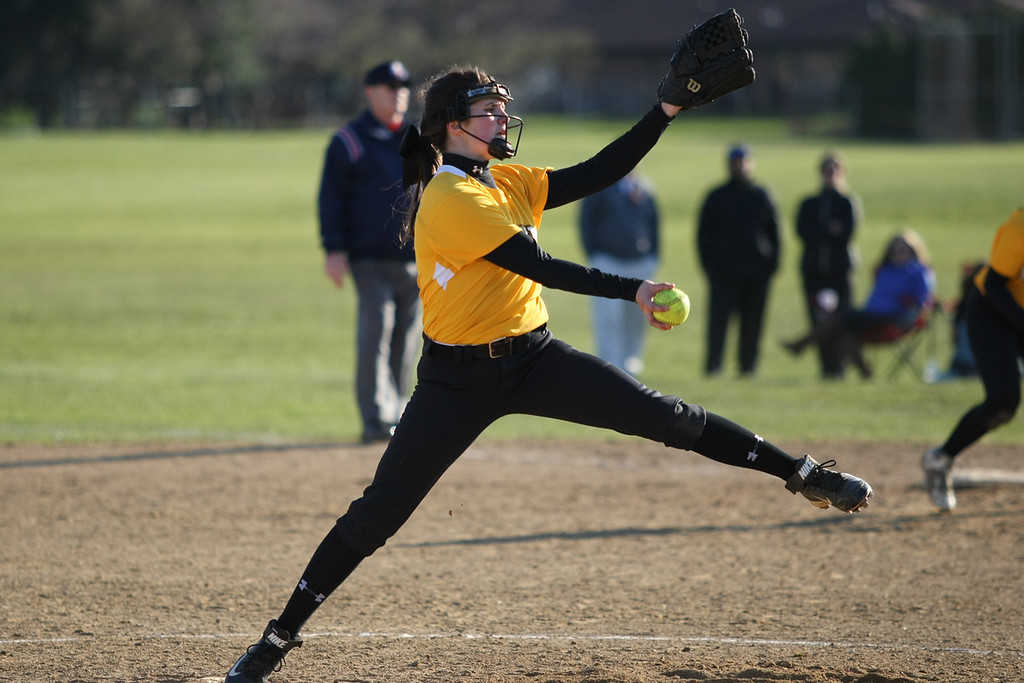 . Michael Johnson - The News-Herald Riverside Pitcher Rosie Rinderman throws a pitch during an away game against Willoughby South.  Riverside defeated South 7-1 at Willoughby South High School.