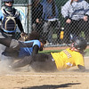 Michael Johnson - The News-Herald<br /> Riverside's Allie Goldy (right) beats Mo Hodge's tag (left) at home plate to score a run in today's game. Riverside defeated South 7-1 at Willoughby South High School.