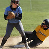 Michael Johnson - The News-Herald<br /> Willoughby South second baseman, Paige MacMullan looks to complete a double play against Riverside.  Riverside defeated South 7-1 at Willoughby South High School.