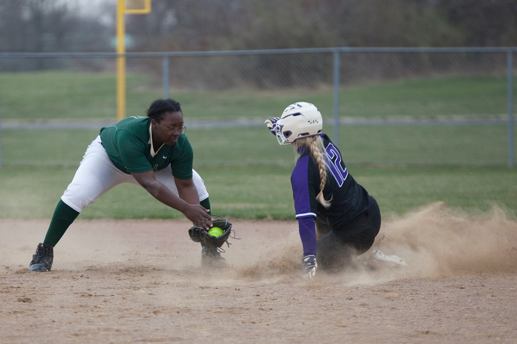 . Jen Forbus - The Morning Journal<br> Keystone\'s Marlie McNulty slides into second against Akron SVSM on April 14.