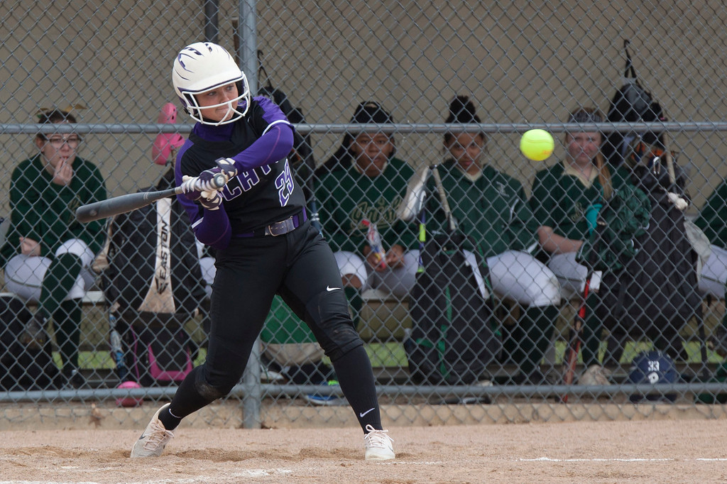 . Jen Forbus - The Morning Journal<br> Keystone\'s Ali Pyles takes a swing against Akron St. Vincent-St. Mary on April 14.