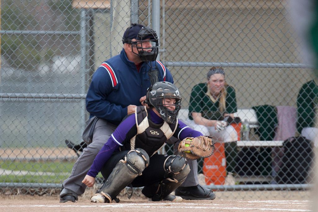 . Jen Forbus - The Morning Journal<br> Keystone catcher Madi Nunez secures a pitch against Akron St. Vincent-St. Mary on April 14.