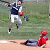 Randy Meyers - The Morning Journal<br /> Lorain third baseman Frank Butcher catches a high throw as Elyria's Kevin Reddinger slides into third during the second game of a doubleheader on April 15.