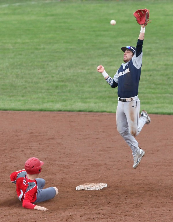 . Randy Meyers - The Morning Journal Devin Nail of Elyria slides into second safely as Ray Rodriguez of Lorain goes up high to stop the ball on a throw during the first game of a doubleheader on April 15.
