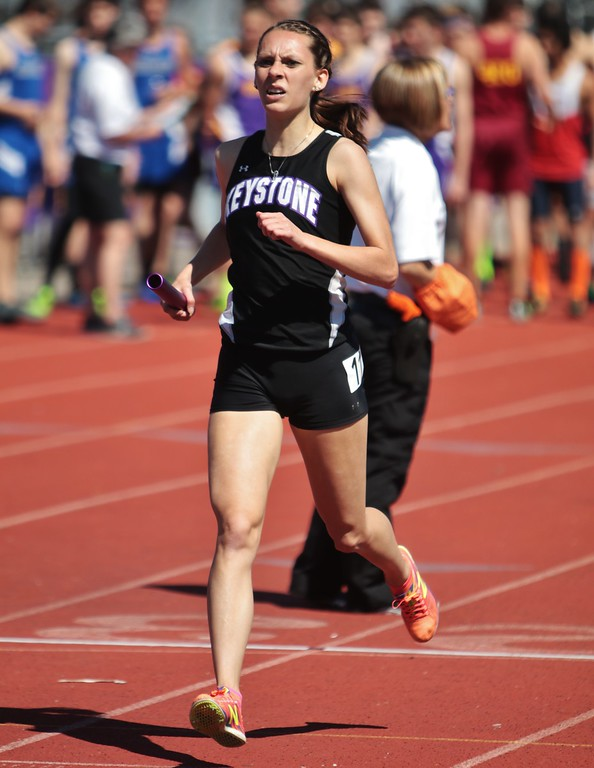. Amanda K. Rundle - The Morning Journal Keystone\'s Shannon Wargo finishes strong in the 4x800 relay at the LCAAA track meet on April 16 at Avon