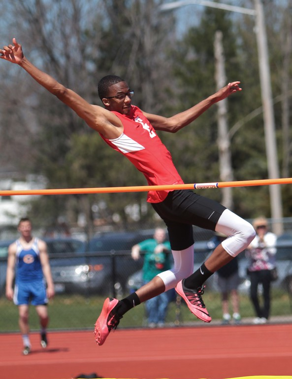 . Amanda K. Rundle - The Morning Journal Elyria\'s Blake Furcron competes in the high jump at the LCAAA track meet on April 16 at Avon.