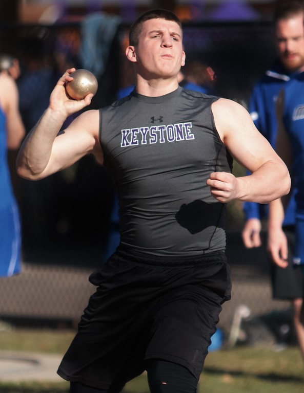 . Amanda K. Rundle - The Morning Journal Keystone\'s Austin Conrad competes in the shot put at the LCAAA track meet on April 16 at Avon.