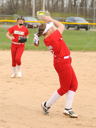 Don Knight   The Herald Bulletin<br /> Anderson's Lauryn Williams catches a fly ball as the Indians hosted Alexandria on Tuesday.
