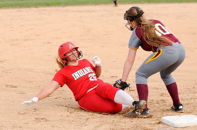 Don Knight | The Herald Bulletin Alexandria's Tristen Dunn tags Anderson's Emma Kelley out at third base on Tuesday.