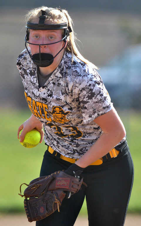 . Jon Behm - The Morning Journal Black River\'s Bailey Scheck throws a pitch during the bottom of the second inning against Keystone on April 18 at LaGrange Community Park.