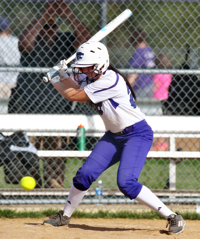 . Jon Behm - The Morining Journal Keystone sophomore Brooke Piazza passes on a low pitch during the bottom of the first inning against Black River on April 18 at LaGrange Community Park.