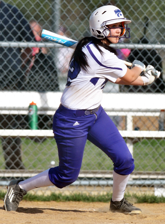 . Jon Behm - The Moring Journal Keystone sophomore Brooke Piazza watches a hit during the bottom of the first inning against Black River on April 18 at LaGrange Community Park.