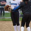 Barry Booher - The News-Herald<br /> Madison pitcher Alyssa Rose celebrates the victory with teammate Alicia Major during the Blue Streaks' 2-1 victory over Chardon on April 21. .  Major snagged a line drive down the first base line for the last out.