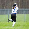 Barry Booher - The News-Herald<br /> Madison centerfielder Liz Montgomery runs down a flyball during the Blue Streaks' 2-1 victory over Chardon on April 21.