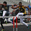 Michael Johnson - The News-Herald<br /> Warrensville Heights' Thomas Morris (left) and Brush's Jai Dixon (right) perform in the Men's 110 Meter Hurdle during the Ranger Relays at North High School on April 23, 2016.