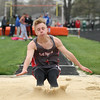Michael Johnson - The News-Herald<br /> Geneva's Seth Goodrick lands in the Long Jump event during the Ranger Relays at North High School on April 23, 2016.