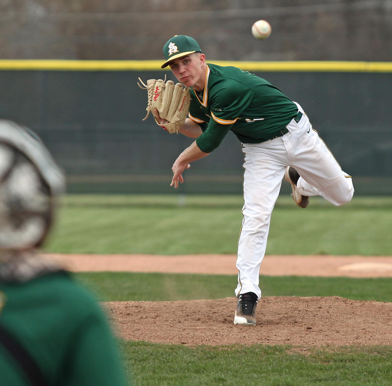 . Randy Meyers - The Morning Journal Evan Shawver of Amherst delivers a  pitch against Miview during the third inning on Monday. He would pick up  the win after a complete game shutout