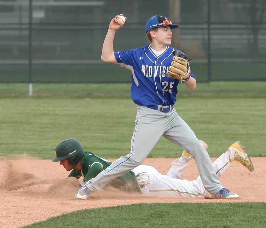 . Randy Meyers - The Morning Journal Midview second baseman Connor  Bansek forces out Hunter Cassidy at second and turns a double play on  Monday