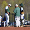Paul DiCicco - The News-Herald<br /> Lake Catholic Assistant Coach, Brad Bowser, having a word with his pitcher, Tom Yuras, late in the game.